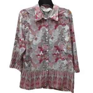 Allison Daley Pink Floral Button Front Shirt, 14